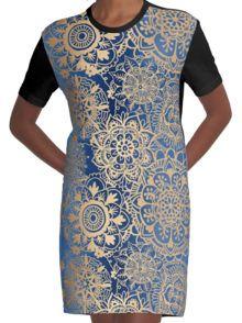 Patroon De blauwe en Gouden Mandala Grafische T-shirt Dress