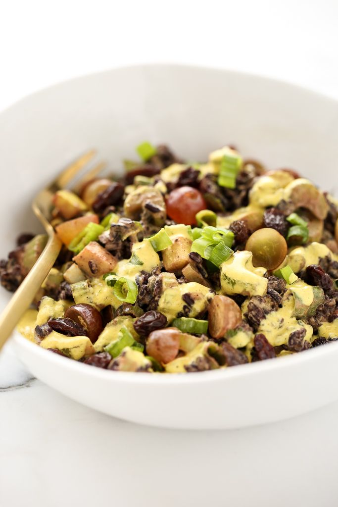 Black Rice Crunch Salad with Creamy Curried Cashew Dressing (vegan, gf)