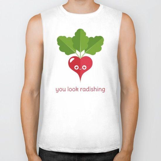 You Look Radishing Biker Tank - pun, puns, radish, radishes, ravishing, veggies, vegetable, vegetables, food, funny, cute love, relationship, tasteful, tasty, relationships, valentine, valentines, vector, art, illustration, drawing, design