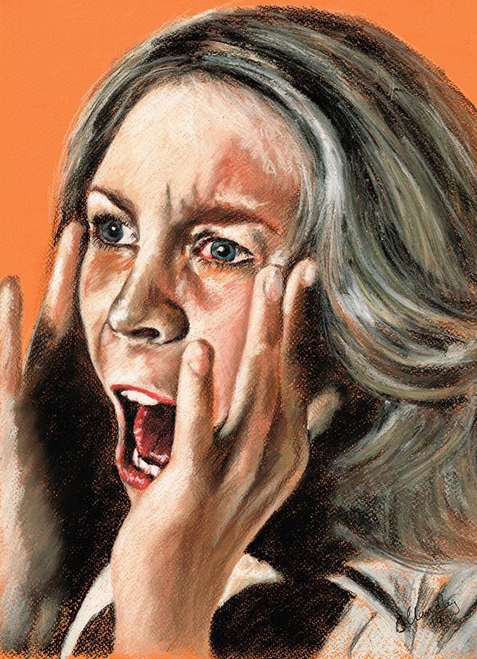"""It was the Boogeyman"" Laurie Strode - Halloween. Original Pastel Art.   #Horror Artist #Jaime Lee Curtis #John Carpenter #Halloween #Horror"