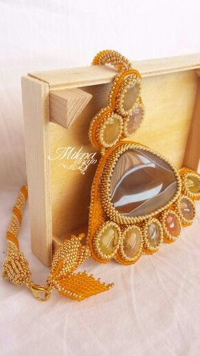 Bead embroidery...Beautiful onyx agate & dragon veins agate cabochon....