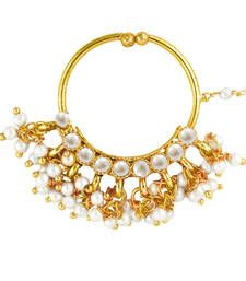 Buy Deepika Padukone Inspired Traditional Ethnic Pink Circle Pearl Nath Nose ring for Women nose-ring online