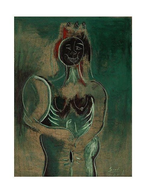 Bernardo Santiago Angeles, El desnudo de la Reina 2016 Oleo / Papel  49. 5 x 33.5 cm, Colección Particular. © Archivo Fotográfico MVBSA. COPYRIGHT  2016: Santiago.