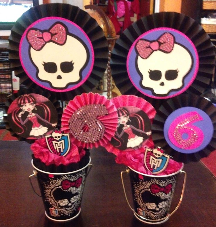 Monster High birthday party. MH centerpiece idea, could add lollipops or cake pops.
