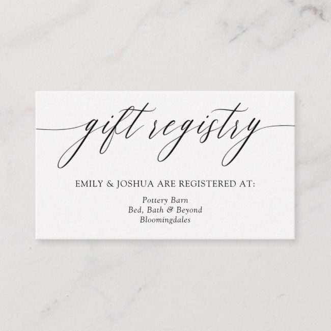 Elegant Minimalist Calligraphy Gift Registry Enclosure Card