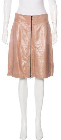 Robert Rodriguez Leather A-Line Skirt