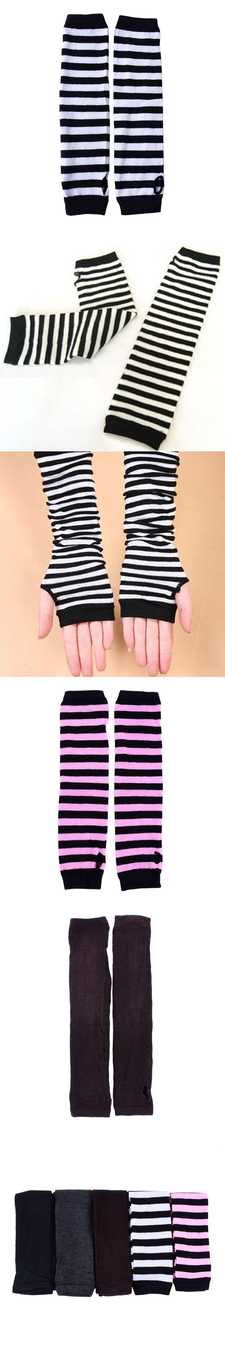 Women Knit Long Arm Warmers Sleeves Winter Fingerless Gloves Striped Gloves New Sale