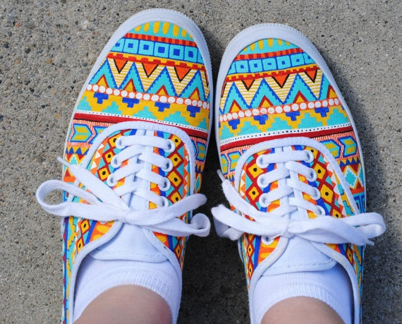 Hand Painted Aztec Shoes