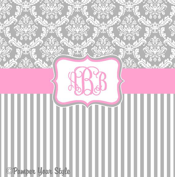 Damask and Stripe - Gray and Pink Shower Curtain - Any Color Band - Personalized Shower Curtain, Custom Monogrammed Curtain via Etsy