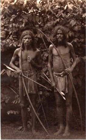 Veddah Tribesmen with Bow and Arrow Ceylon Sri Lanka 1880s