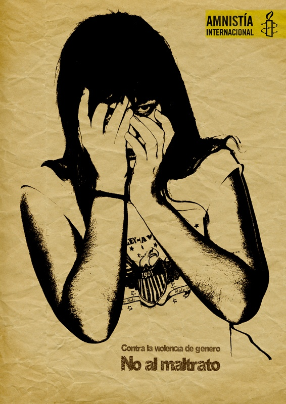 Amnistía Internacional    Brief: Contra la violencia de género  Idea: Partimos del insight de que la gente no mira al felpudo hasta que ya se está sacudiendo los pies.   Para ello pondremos en un felpudo la forma de una mujer cubriendose la cara contra los golpes.   Con esto conseguimos que cuando el propietario entra a su casa y se sacude los pies, ve que esta   pateando no solo al felpudo sino a una figura femenina, simulando un caso de malos tratos.