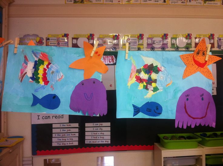 Painting and cutting The Rainbow fish and his friends