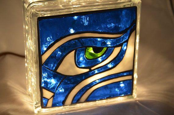 Seahawks mosaic glass block by LittleGuppyGlasswork on Etsy