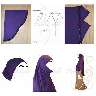 Sewing tutorial for full covering al-amira hijab or khimar. This kind of hijab (or khimar) is sewn using khit fabric and has very comfortable detail - triangle on the bottom face line. And it can be put on underscarf or without underscarf when it has special visor. Sew with HelikaStyle!