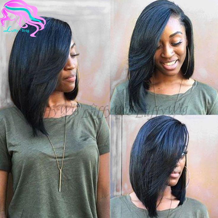 Layered Human Hair Short Bob Wigs Side Part Virgin ...