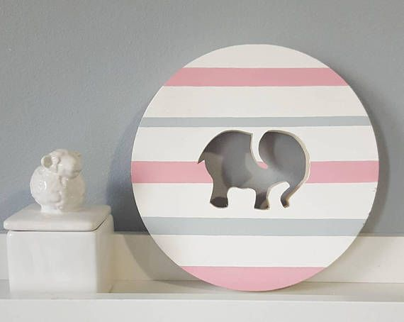 Cute Elephant Nursery Decor For Baby Girls. More Durable than a print! give them a gift that will last.  Check out the shop for more nursery decor. #elephant #nursery #elephantnursery #pinkandgrey #pinkandwhite #pinkelephant #babygirl