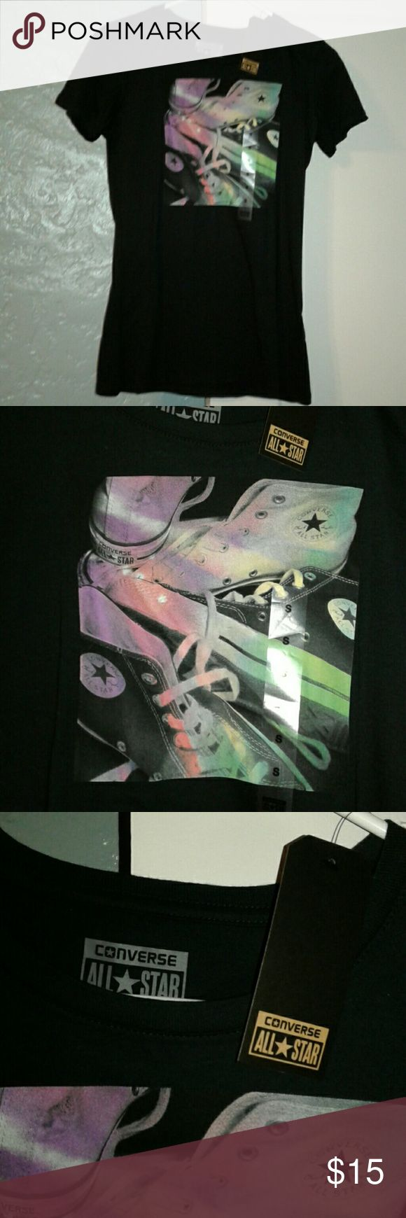 NWT ladies converse tee NWT black with bright multi colors on picture ladies converse tee. Converse Tops
