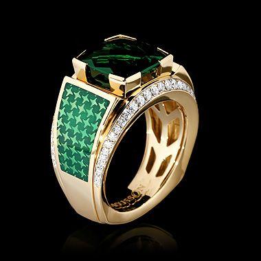 Mousson Atelier, Men's collection, Yellow gold 750, Green tourmaline 7,77 ct., Diamonds, Enamel
