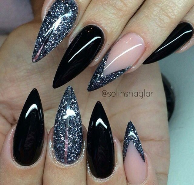 glitter black and pink stiletto nails