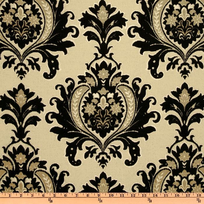 Kasper Sisley Damask Chenille Jacquard Black Cream Discount Designer Fabric