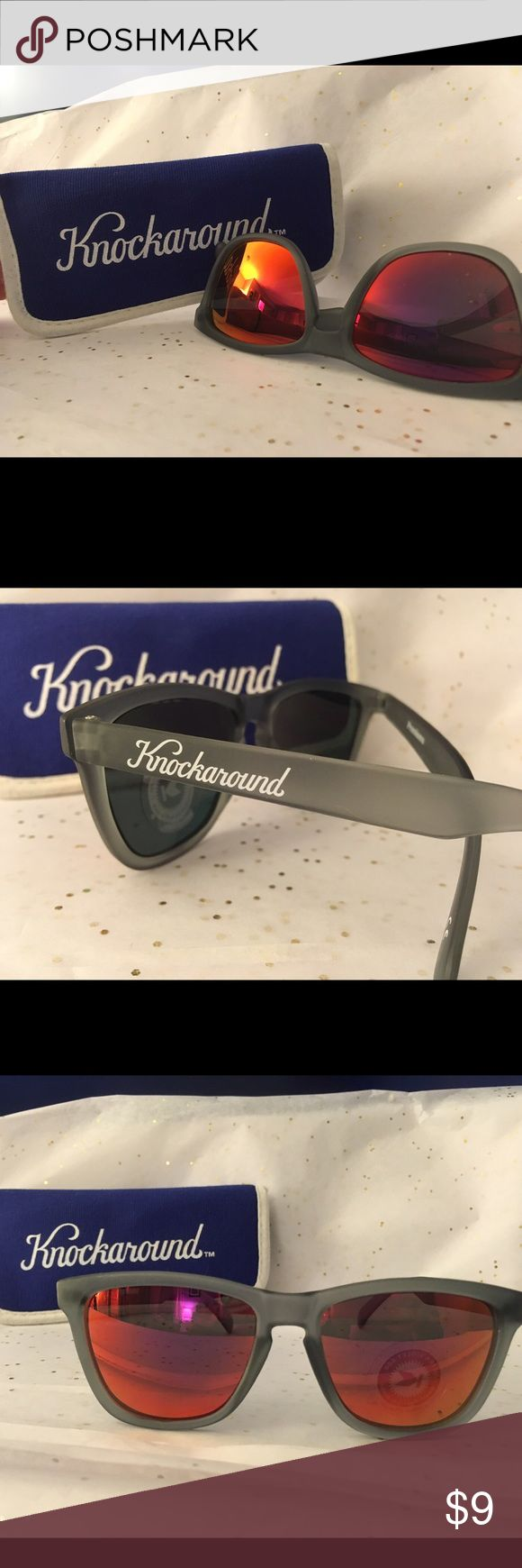 Brand New No Tags Knockaround Sunglasses w/case FROSTED GREY / RED SUNSET CLASSICS Accessories Sunglasses