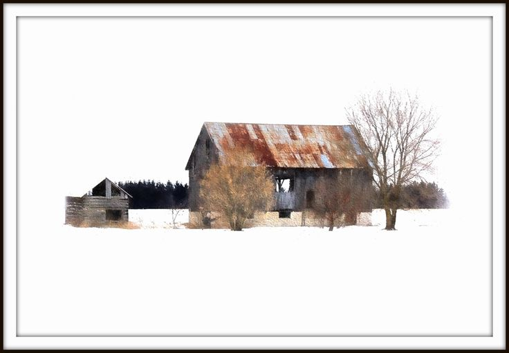 Barns in Snow. Processed as a water color.