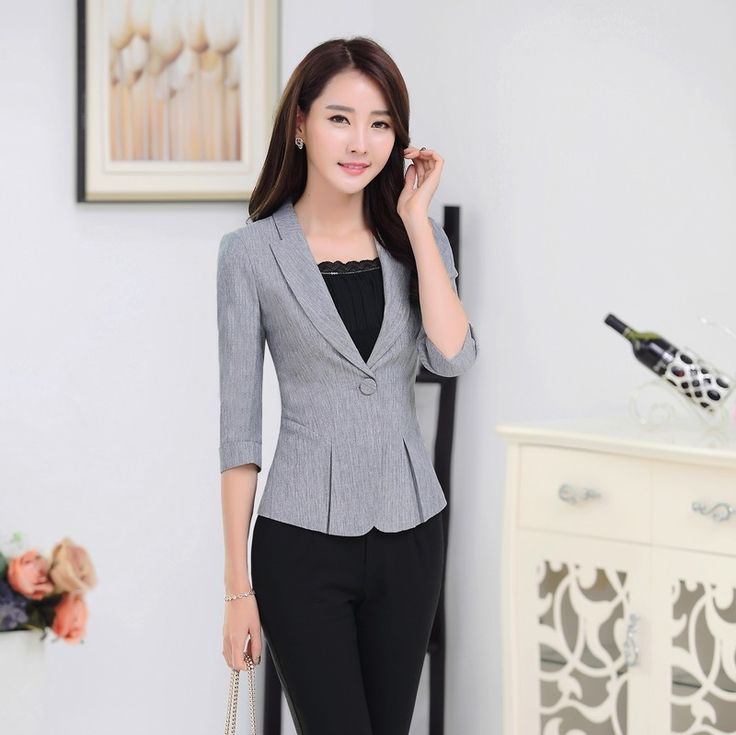 New 2016 Spring Fall Formal Ladies Gray Blazers Women Outerwear Jackets Slim…