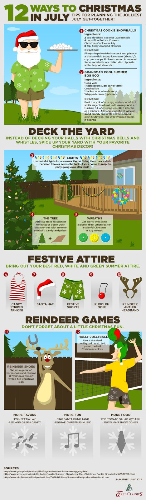 "Happy summer Christmas! It's Christmas in July time. Throw a party, or celebrate the ""festivities"" your own way with these fun ideas."