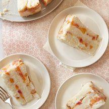 Frozen Peaches-and-Cream Cake - Weight Watchers recipe - 5 PP per slice
