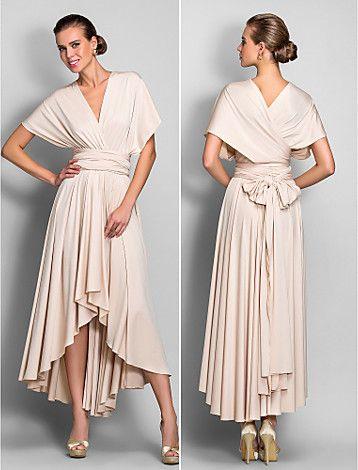 gaun pengiring pengantin asimetris kolom jersey selubung gaun konversi (633.752) - USD $ 89.99