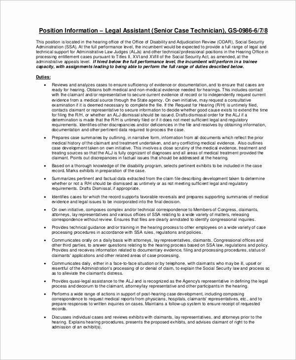 Paralegal Job Description Resume Inspirational Sample Legal Assistant Job Description 9 Examples Job Description Assistant Jobs Administrative Assistant Resume
