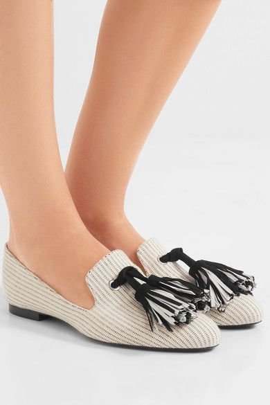 Proenza Schouler - Tasseled Woven Canvas Loafers - Off-white - IT38