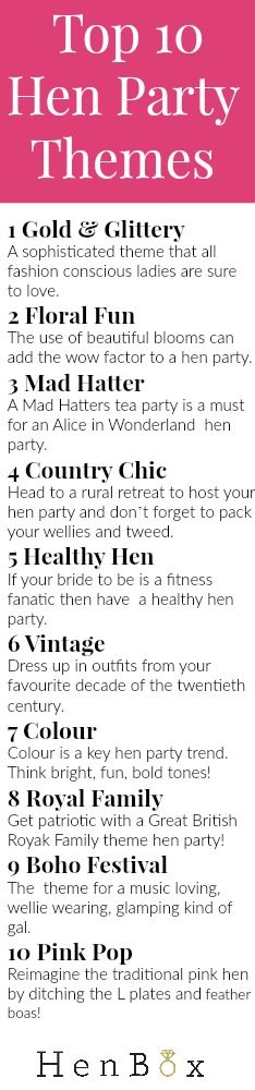 Find out the TOP 10 Hen Party Theme Ideas. Struggling to find a theme for your hen party? Then check out our top 10 hen party theme ideas. Perfect reading for all chief bridesmaids!