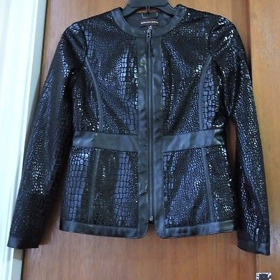 New Dana Buchman Black Faux Leather Animal Print Zip Up Jacket Size XS