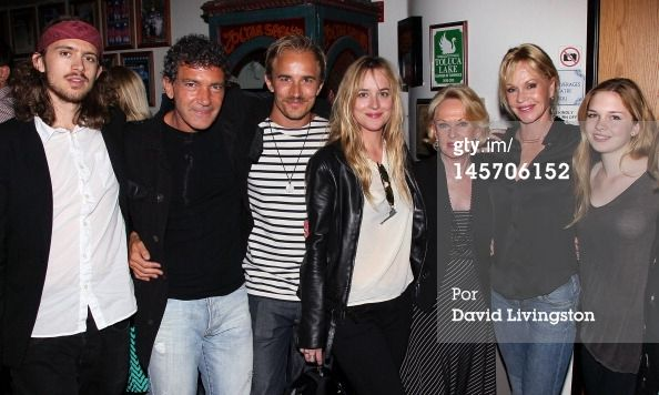 Alexander Bauer, actors Antonio Banderas, Jesse Johnson, Dakota Johnson, Tippi Hedren and Melanie Griffith and her daughter Stella Banderas pose at the opening night of 'No Way Around But Through' at the Falcon Theatre on June 3, 2012 in Burbank, California. (Photo by David Livingston/Getty Images