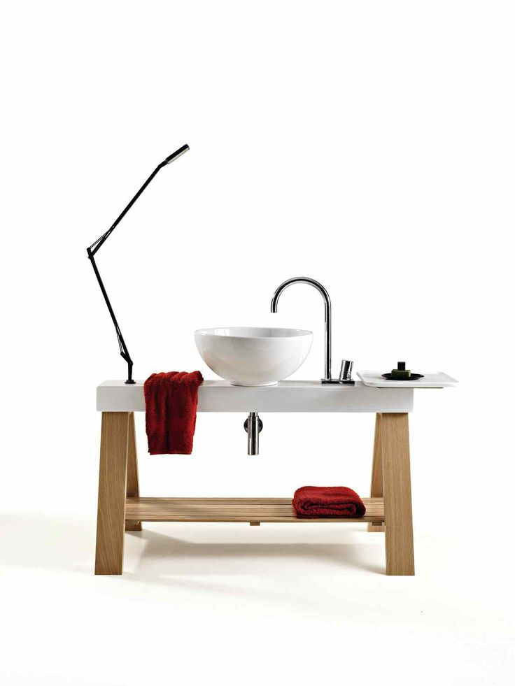Il Cavalletto, design Meneghello Paolelli Associati. #design #bathroom #bagno #lavabo #Artceram #flos #wshbasin #furniture #wood #legno #naturale