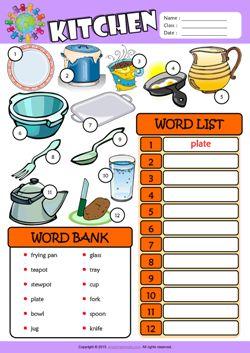 Kitchen ESL Find and Write the Words Worksheet For Kids