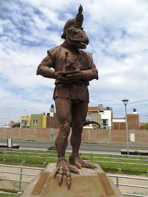 """Περουβιανή Καλλιτέχνης ανέγειρε άγαλμα ερπετοειδή Θεού στην """"Πρωτεύουσα της Φιλίας""""   ..."""
