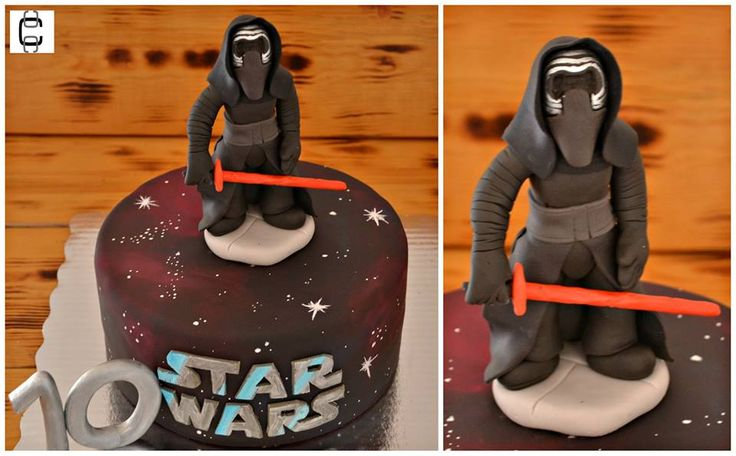 Star Wars fondant cake ideas / Star Wars party ideas / Kylo Ren Star Wars fondant cake / Pastel de fondant de Star Wars / Fiesta de Star Wars / Pastel de Kylo Ren