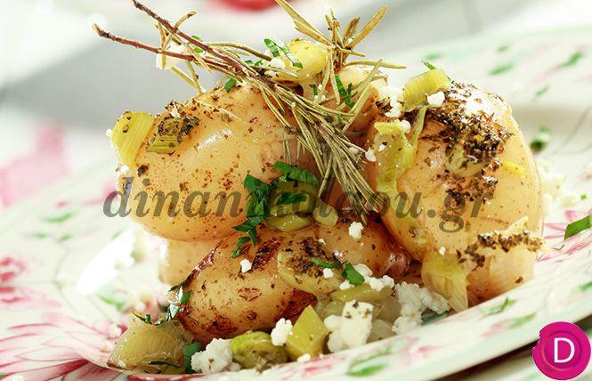 Πατάτες στη γάστρα με φρέσκα κρεμμυδάκια και μυρωδικά | Dina Nikolaou