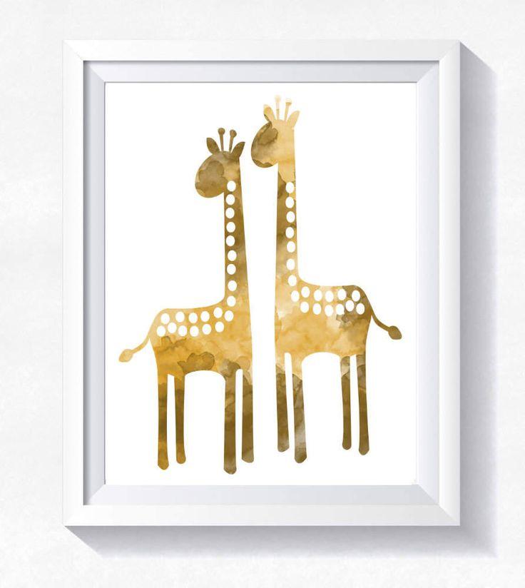 Giraffe print, gold giraffe wall art, giraffe watercolor, toddler wall art, nursery printable, instant download, giraffe printable poster by HappyLittleFrog on Etsy