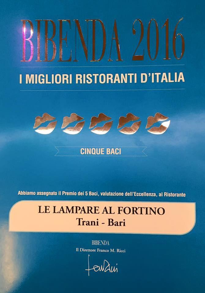 Ieri, presentazione Guida Bibenda 2016 Le Lampare al Fortino di Trani ristorante 5 Baci Bibenda 2016: excellent!!! #premio #bibenda #roma #trani #ristorante #food #staff