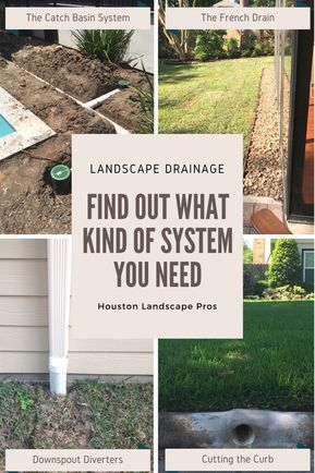 Landscape Drainage Solutions! In this page, we provide short descriptions of the different yard drainage systems and their pros/cons. We describe 6 different typical landscape drainage systems: the french drain, landscape trench drainage, the catch basin drain system, the downspout drainage and diverters, the sump pump drainage system, and the pop-up emitter.