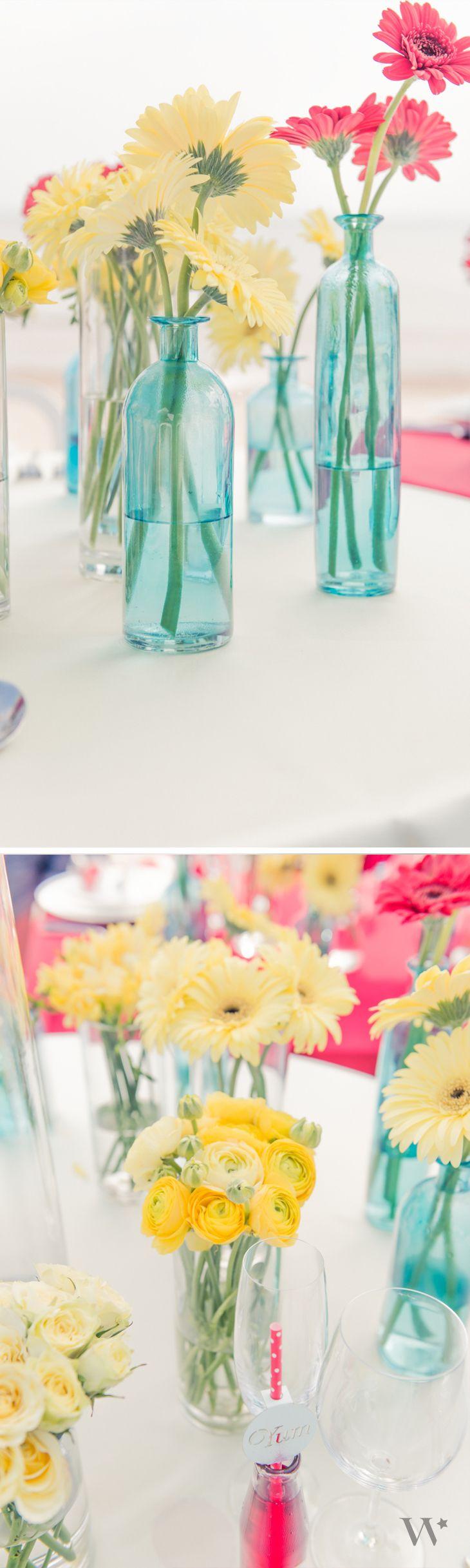 Wedding Tablescape   Wedding Centerpiece   Floral Wedding Centerpiece   Flowers http://www.weddingstar.com/product/decorating-glass-bottle-set
