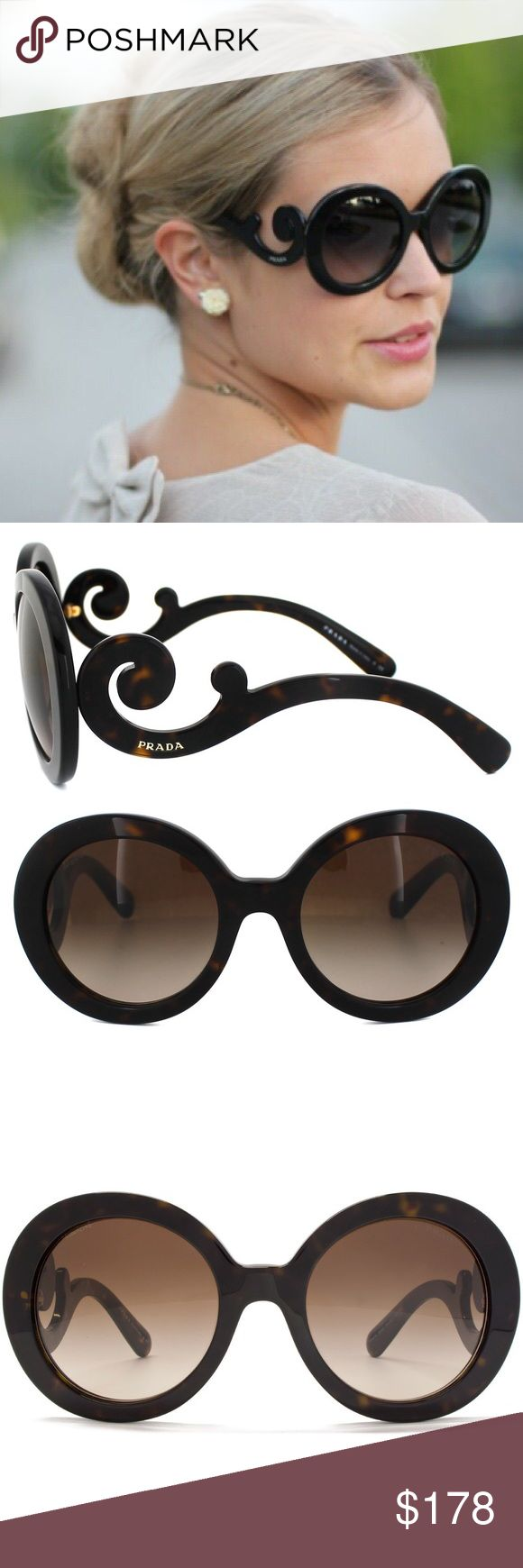 Authentic Prada Gradient PR27 Swirl Baroque Havana Authentic Prada Baroque Swirl Havana - NEw in the box - I got the squared one which fits me better - Brand New in the original Prada white case Frame Color: Havana Lens Color: Brown Gradient - Round Style Gradient Lens UVA/UVB Protection 55mm / 22mm / 135mm Prada Accessories Sunglasses