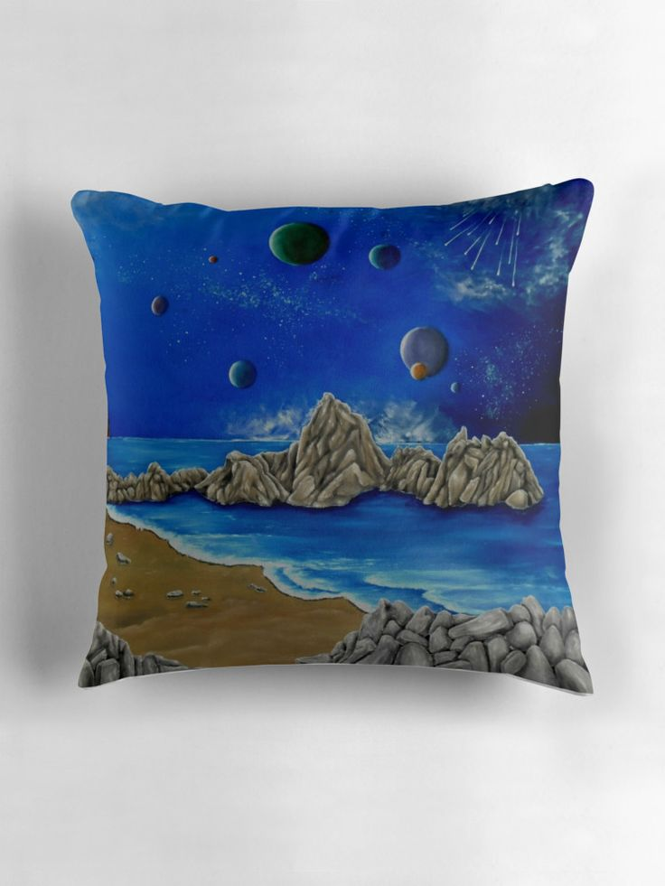 Throw Pillow,  home,accessories,sofa,couch,decor,cool,beautiful,fancy,unique,trendy,artistic,awesome,fahionable,unusual,gifts,presents,for,sale,design,ideas,blue,planets,sky,universe,redbubble