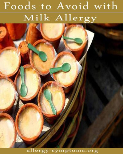 Foods to Avoid with Milk Allergy  To treat an allergy, you must stop consuming irritants. Dairy products are used in included in various products. In this article I'll discuss on foods to avoid with milk allergy.   http://allergy-symptoms.org/foods-to-avoid-with-milk-allergy/