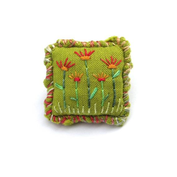 Embroidered Flower Brooch - Small Green Fabric Brooch with Hand Embroidered Flowers