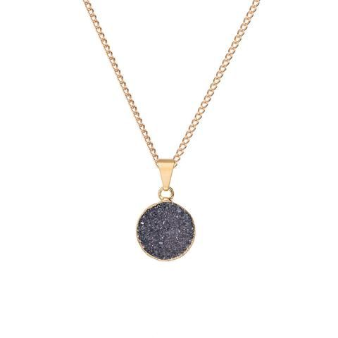 Decadorn Small Circle Drusy Pendant Necklace - Dark Grey