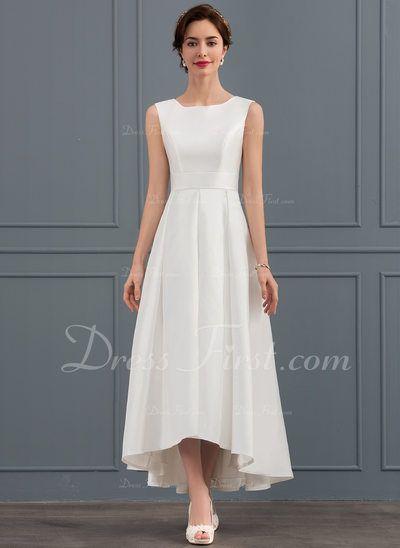 A Line Princess Square Neckline Asymmetrical Satin Wedding Dress 002127336